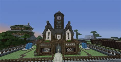 Medieval House With Clock Tower & Garden Minecraft Project