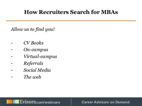 Cl Mba On Demand by The With An Mba Recruiter