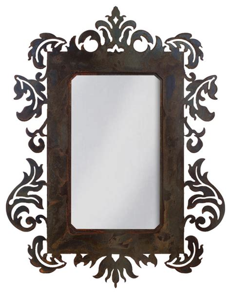 iron mirror wall decor wrought iron mirror damask style 36 quot mirror with rust