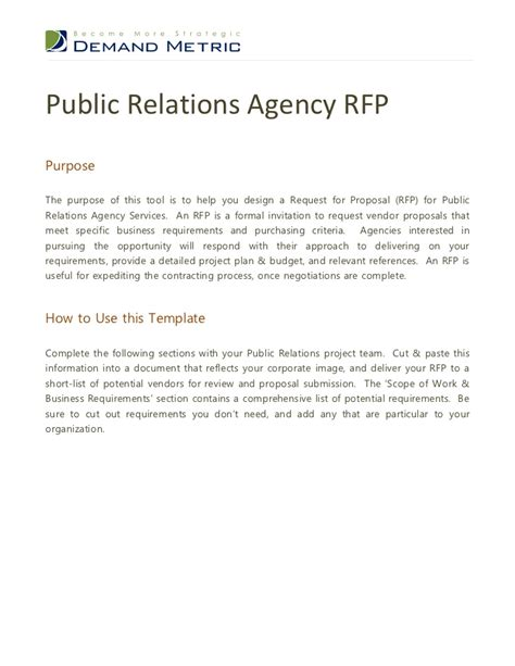 pr rfp template relations agency rfp