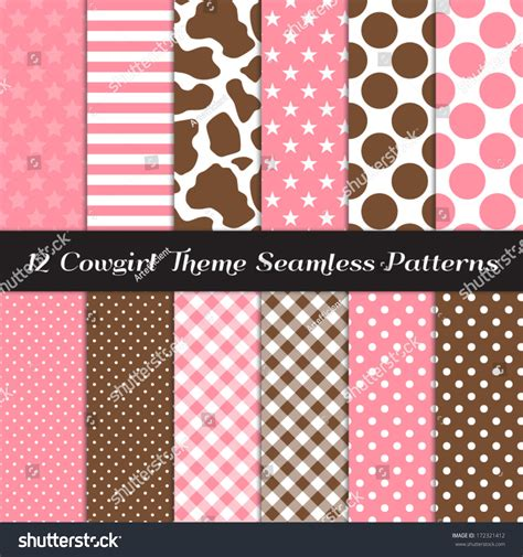 Seamless Patterns With Gingham Polka Dot Iphone Semua Hp theme seamless pattern pack with cow skin print pink and brown gingham polka dots