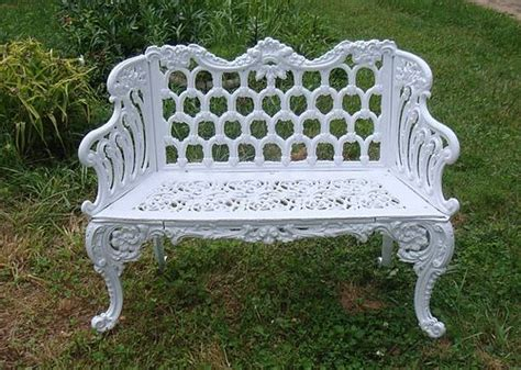 white cast iron bench antiques furnishings garden trocadero
