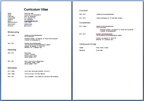 Cv Sjabloon Openoffice Cv Voorbeeld Curriculum Vitae 5 Gratis Cv Templates Downloaden