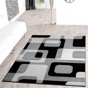 moderne wohnzimmer teppiche wohnzimmer teppich modern grau schwarz wei 223 retro muster