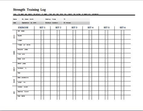 weight training log template daily strength log template at word documents