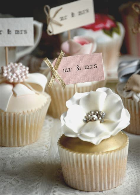 mr and mrs Wedding Cupcake Toppers   Vintage Twee