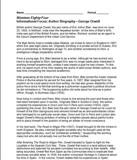 Informational Focus Author Biography George Orwell | daily notes handouts