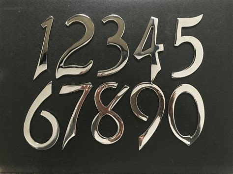 mm  chrome house door numerals number numbers sign