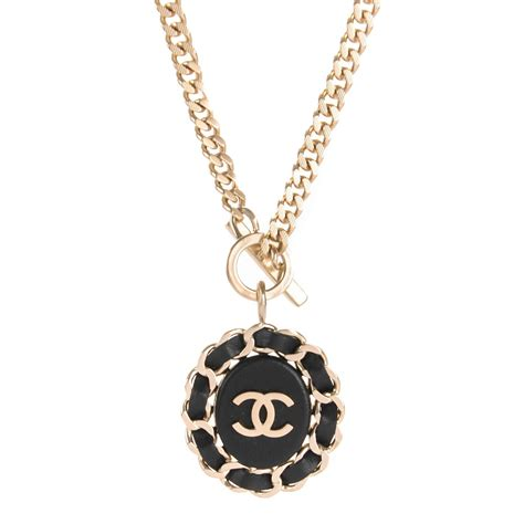 black chain with pendant chanel lambskin cc chain pendant necklace gold black 148860