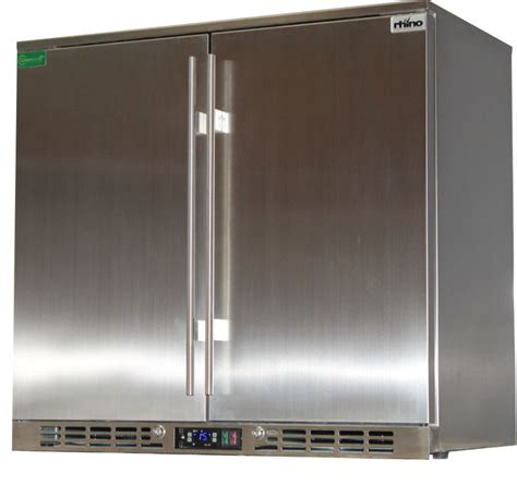 glass door stainless steel bar fridge rhino 2 door commercial alfresco all stainless steel bar
