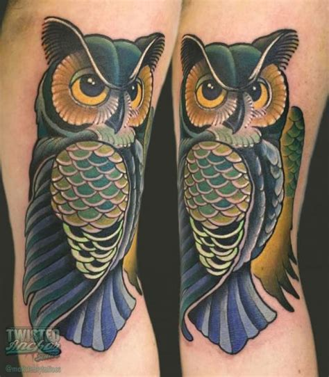twisted anchor tattoo arm new school owl by twisted anchor