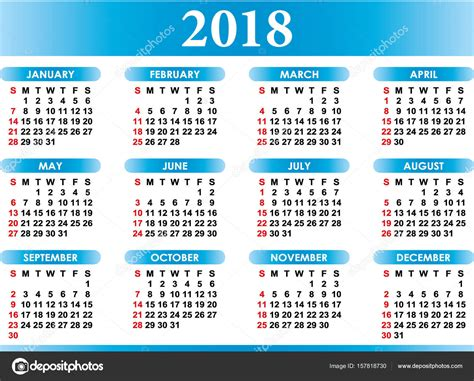What Does Calendario In Calendar 2018 Stock Vector 169 Baodart 157818730