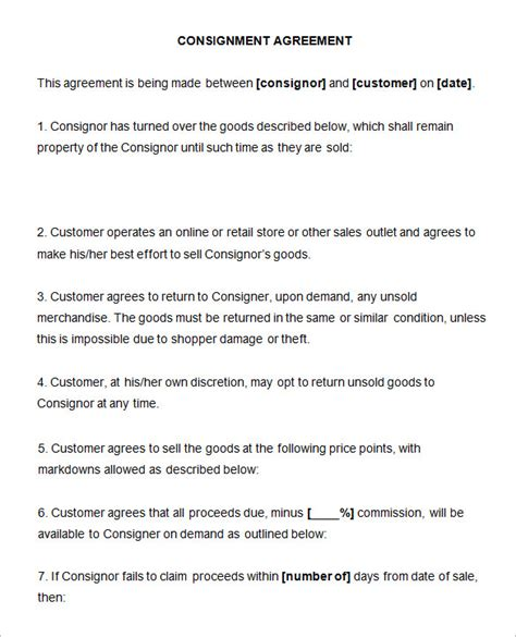 consignment agreement template word consignment contract template 4 free word pdf documents