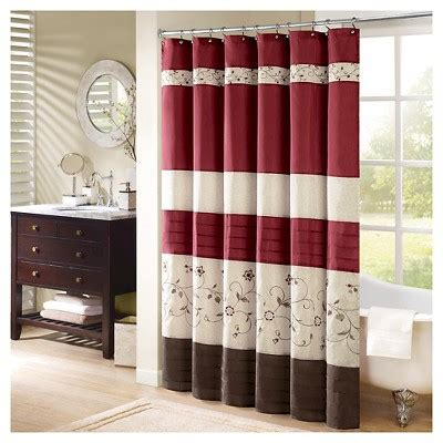 target red shower curtain monroe floral pieced embroidered shower curtain red