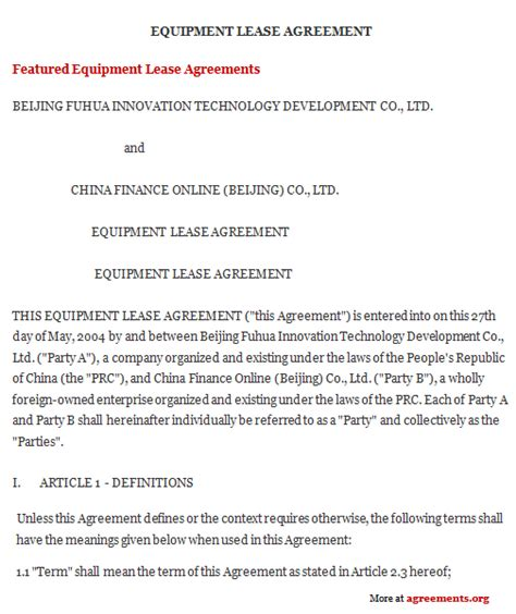 Equipment Lease Agreement Sle Equipment Lease Agreement Equipment Leasing Agreement Dj Equipment Rental Contract Template