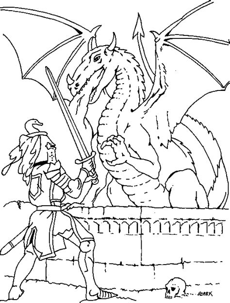 coloring pages of dragons and knights coloring knight fighting a dragon picture
