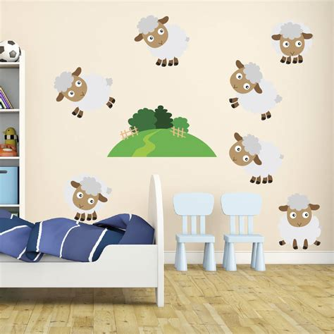 sheep wall stickers counting sheep wall stickers by mirrorin notonthehighstreet