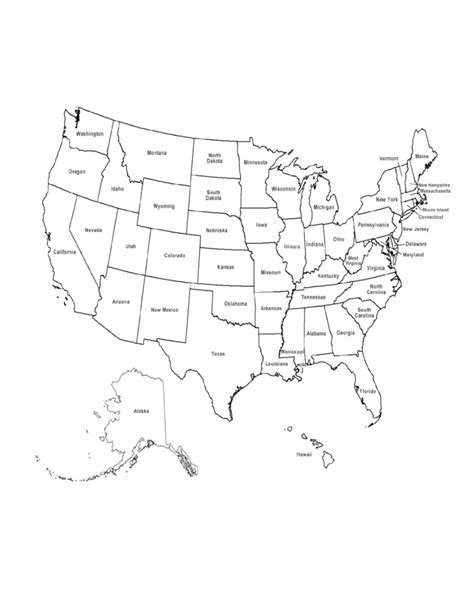 map usa states forms us map with state names free
