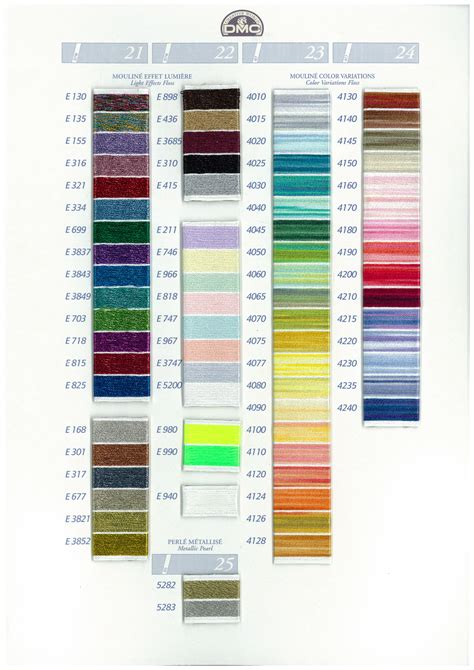 dmc light effects list of colors color threads dmc threads dmc thread specialist