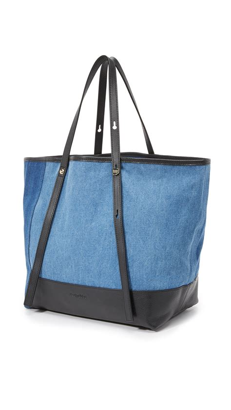 J H Cloe Tote Bag see by chlo 233 denim tote in blue lyst