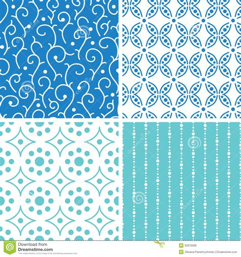 vector pattern matching four abstract doodle motives seamless patterns set royalty