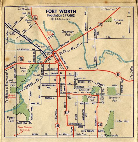 fort worth texas map showing cities highway maps of texas