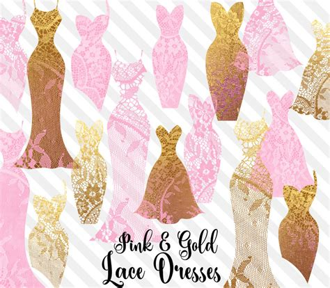lace wedding dress clipart pink and gold lace dresses clipart