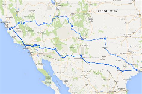 california map road trip texasvanagons california road trip
