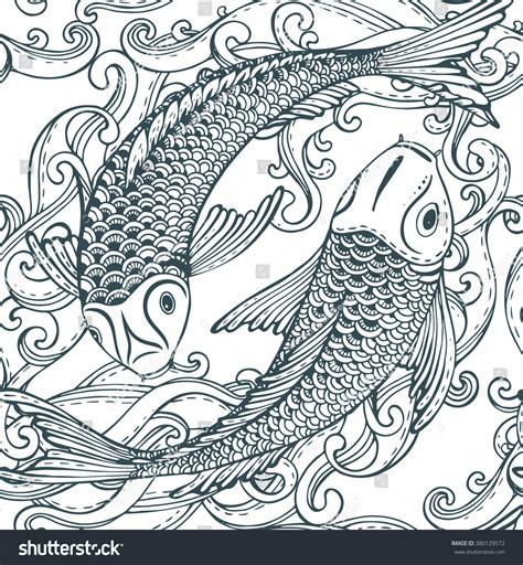 black and white koi wallpaper seamless vector pattern hand drawn koi stock vektor