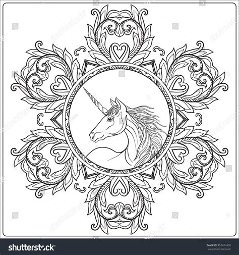 unicorn mandala coloring pages unicorn in vintage decorative floral mandala frame vector