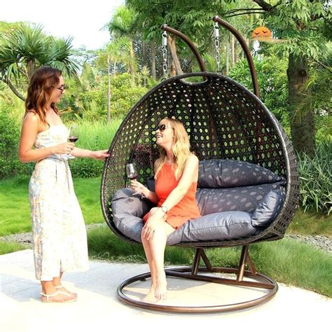 Hanging outdoor furniture durable double seat wicker hanging swing egg chair patio furniture