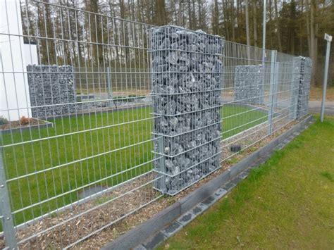 gartenzaun metall mit steinen gefüllt doppelstab gabionen gt zaunanlagen bockmeyer zaun tor