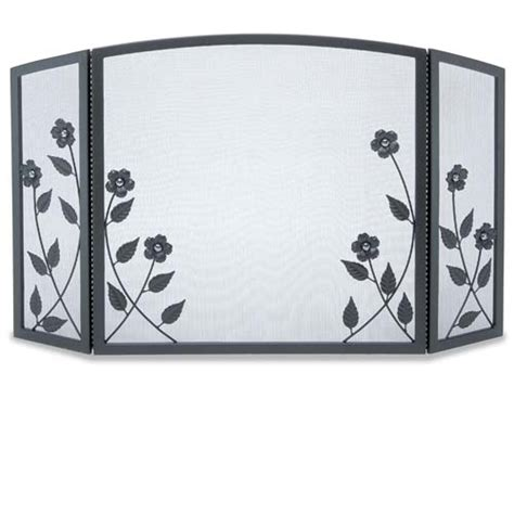 Forged Fireplace Screen by Wrought Iron 3 Panel Forged Floral Fireplace Screen By