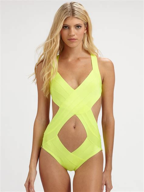 herv l ger onepiece cutout swimsuit in yellow lyst