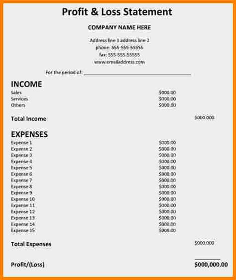 A Profit And Loss Statement Matthewgates Co Personal P L Statement Template