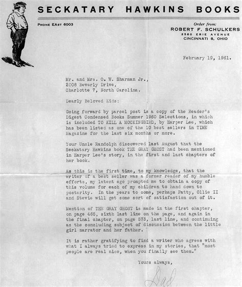 Business Letter To Kill A Mockingbird Quotes About Boo Radley With Page Numbers Quotesgram