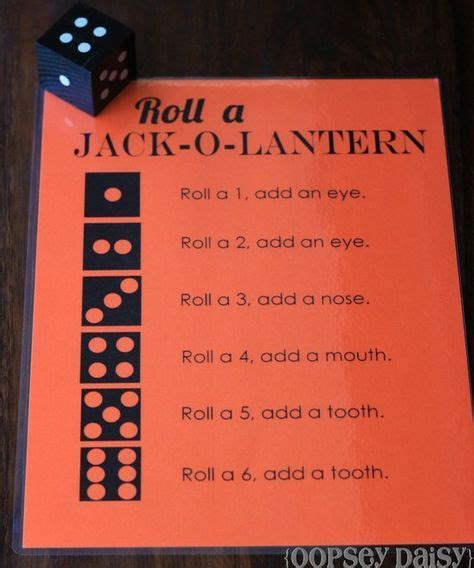roll a jack o lantern printable roll a jack o lantern game first one to get a whole face