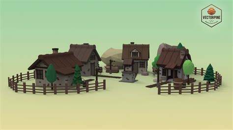 commercial village model low poly mountain village 3d model cgtrader