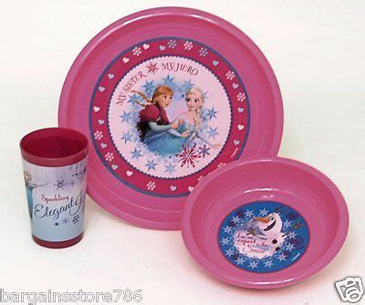 Disney Frozen Breakfast Set Pink scoop bowl non slip suction cup tableware various colors