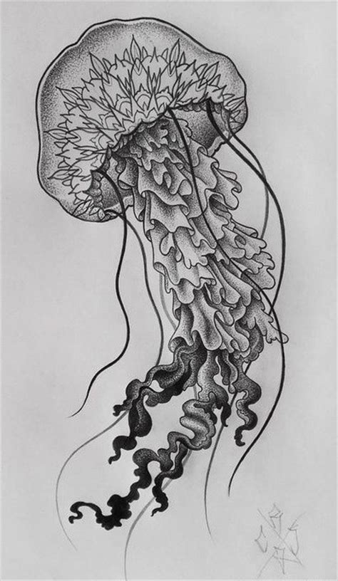 dotwork mandala headed jellyfish tattoo design