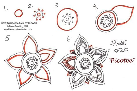 doodle drawing tutorial how to draw paisley flower 20 picotee by quaddles roost on