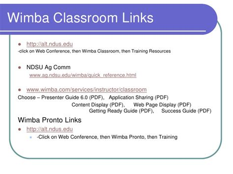Wi Mba by Wimba Classroom For Presenters