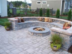 paver patio designs with pit paver patio with firepit and all around sitting wall