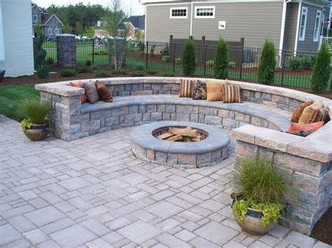 Outdoor Pavers For Patios Paver Patio With Firepit And All Around Sitting Wall Backyard Pinterest Patios Walls And