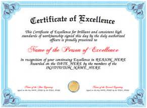 excellence award certificate template certificate of excellence