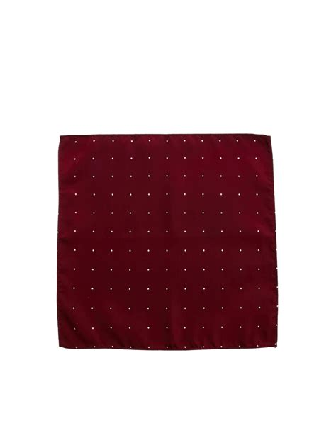 Pocket Polka asos pocket square with spaced out polka dot in for burgundy lyst