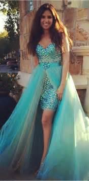 2017 two piece prom dresses turquoise blue rhinestones