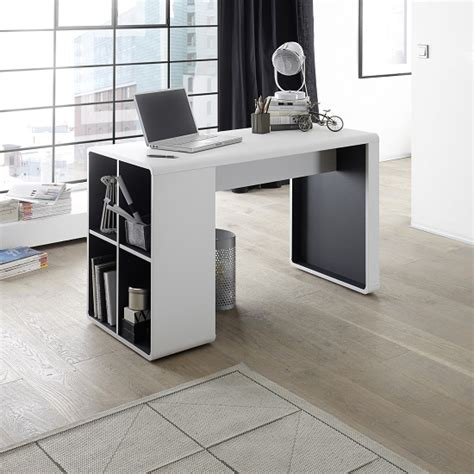 Home Office Desks Houston Houston Computer Desk In White And Anthracite With Shelving