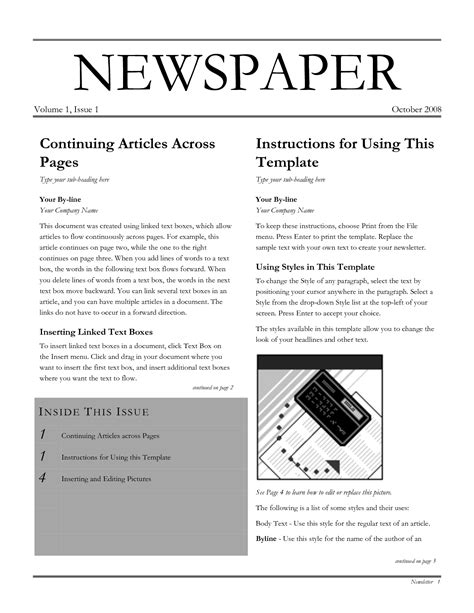 newspaper template for docs 10 best images of docs newspaper article template docs newspaper template blank