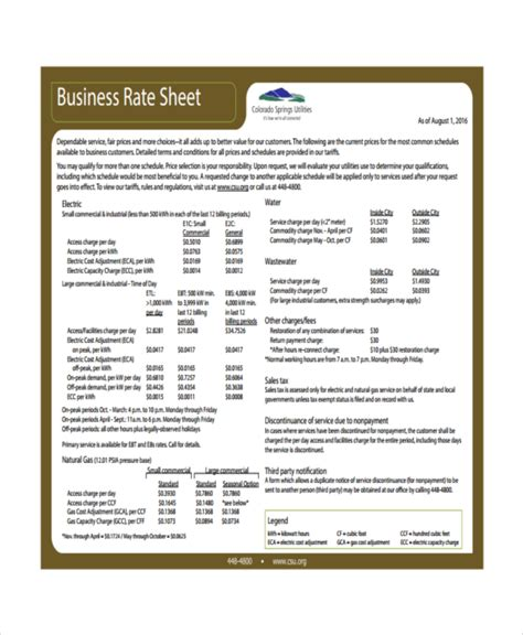 rate card template excel rate sheet template 14 free word excel pdf document